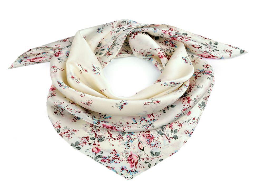 Saténový šátek květy růže 70x70 cm, barva 1 krémová sv.