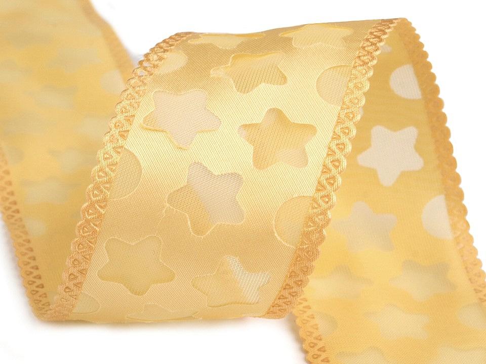 Stuha hvězdy šíře 40 mm, barva 2 zlatá sv.