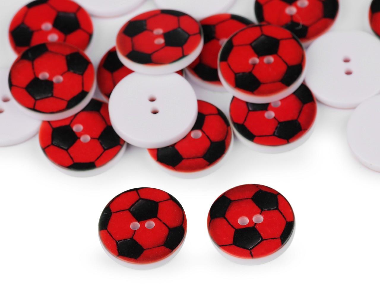 """Knoflík dětský velikost 24"""" fotbalový míč, barva 1 (3160) červená"""