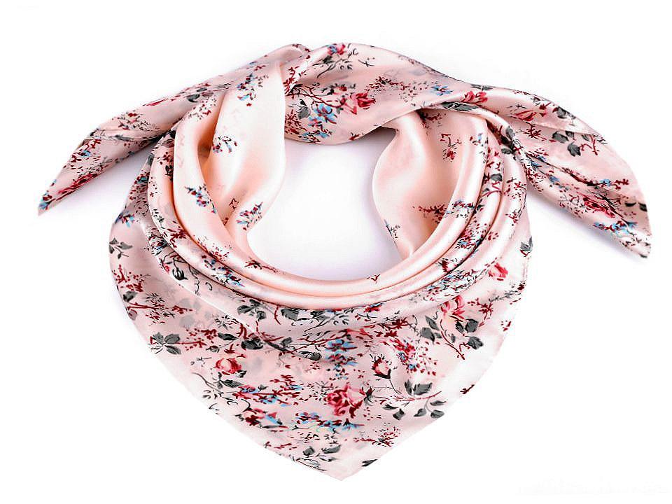 Saténový šátek květy růže 70x70 cm, barva 2 pudrová
