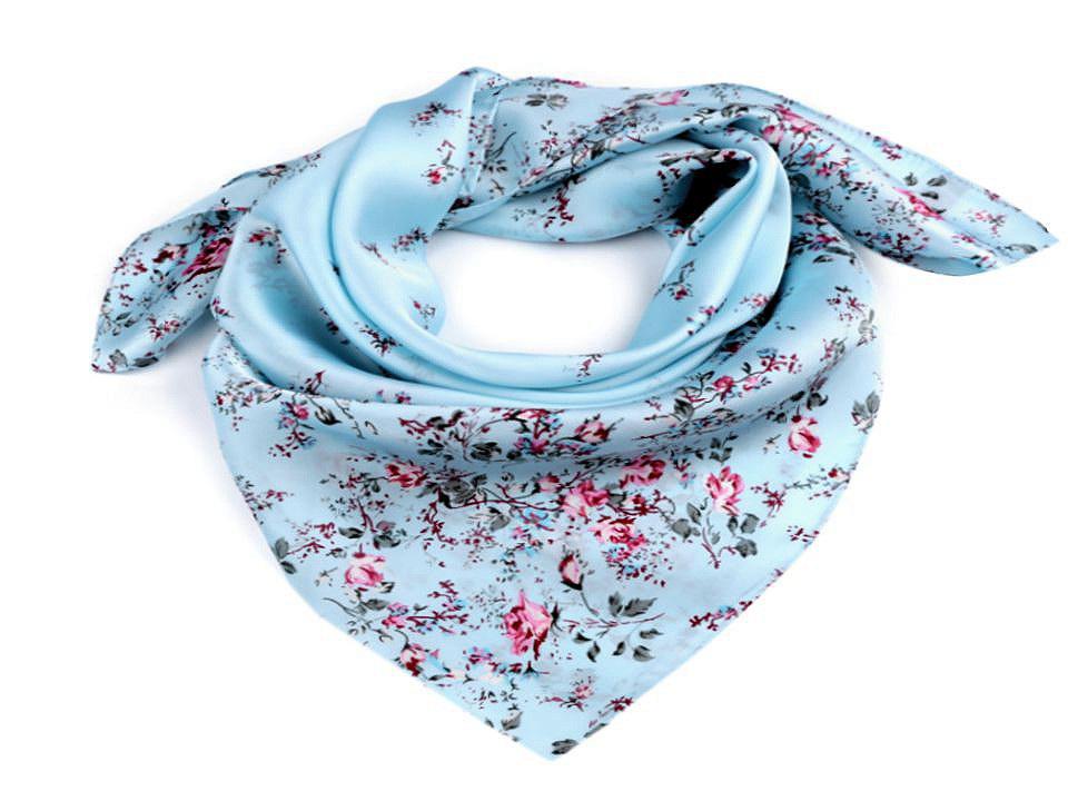 Saténový šátek květy růže 70x70 cm, barva 4 modrá pomněnková