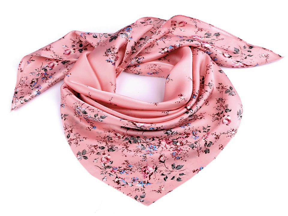 Saténový šátek květy růže 70x70 cm, barva 3 růžová střední