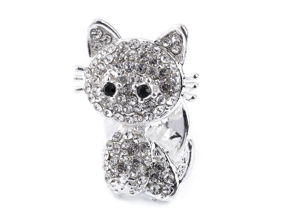 Brož / odznak s broušenými kamínky, barva 2 crystal kočka