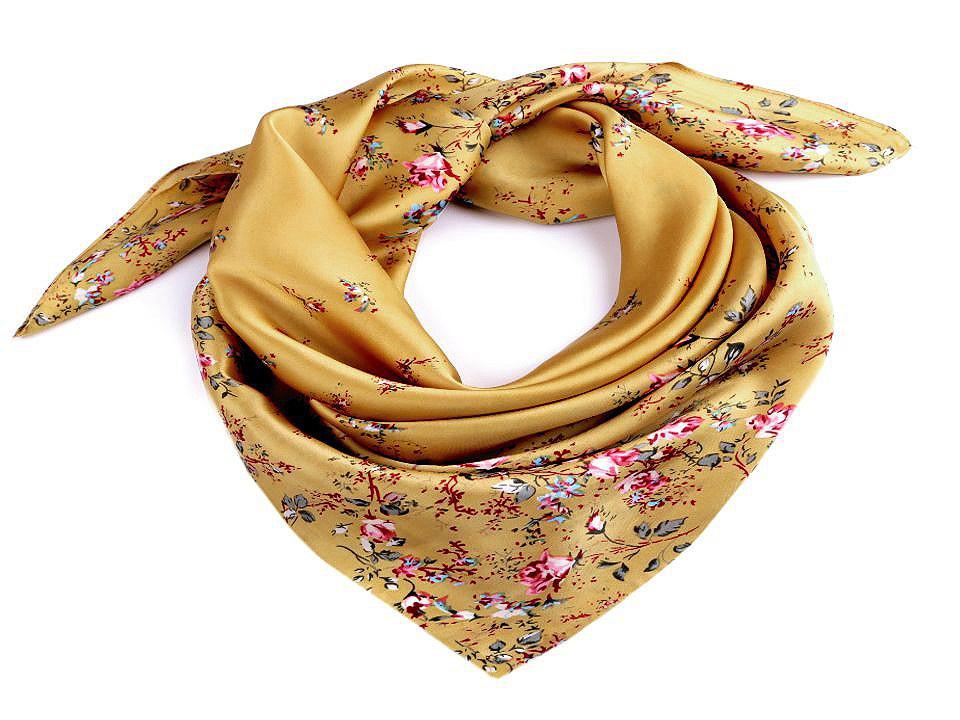 Saténový šátek květy růže 70x70 cm, barva 5 hořčicová