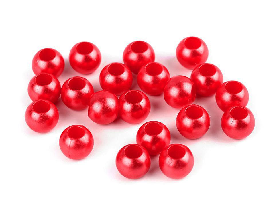 Plastové perly s velkým průvlekem 8x10 mm, barva 3 červená sv.