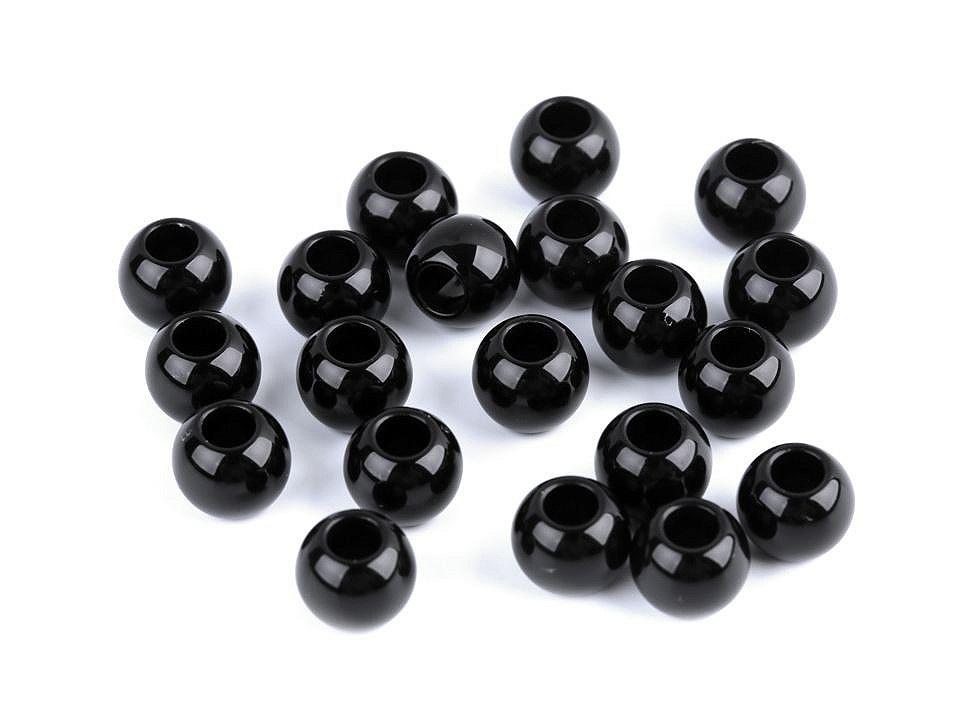 Plastové perly s velkým průvlekem 8x10 mm, barva 4 černá
