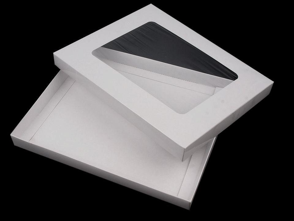 Papírová krabice s průhledem, barva bílá