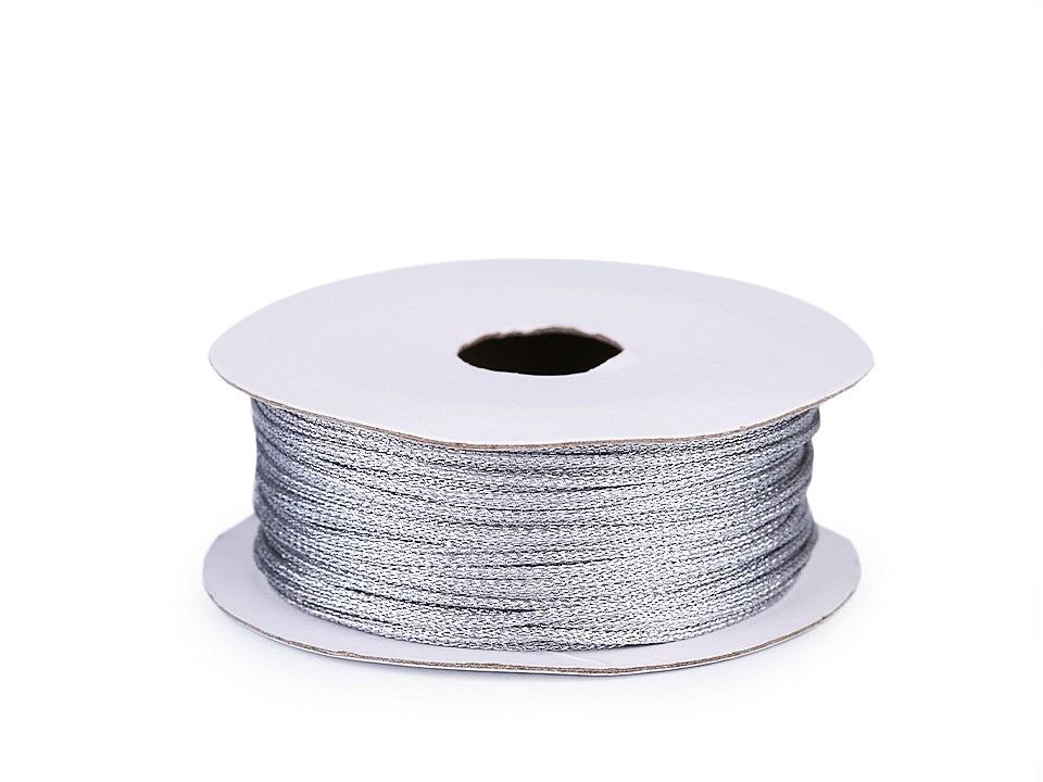 Lurexová šňůrka / provázek Ø1 mm, barva 2 stříbrná