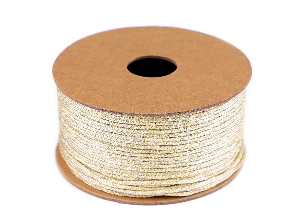 Stuha lurexová šíře 3 mm svatební, barva 3 zlatá sv.