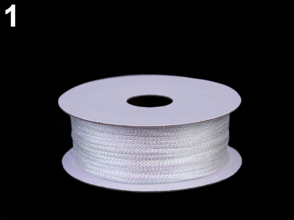 Lurexová šňůrka / provázek Ø1 mm, barva 1 bílá AB