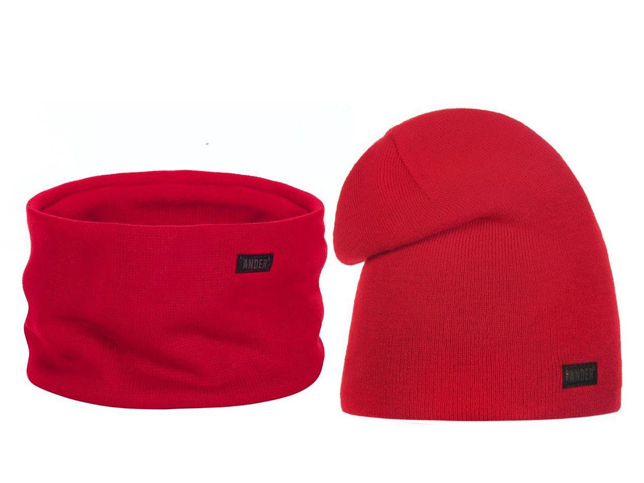 Dámská zimní sada čepice a nákrčník, barva 3 červená