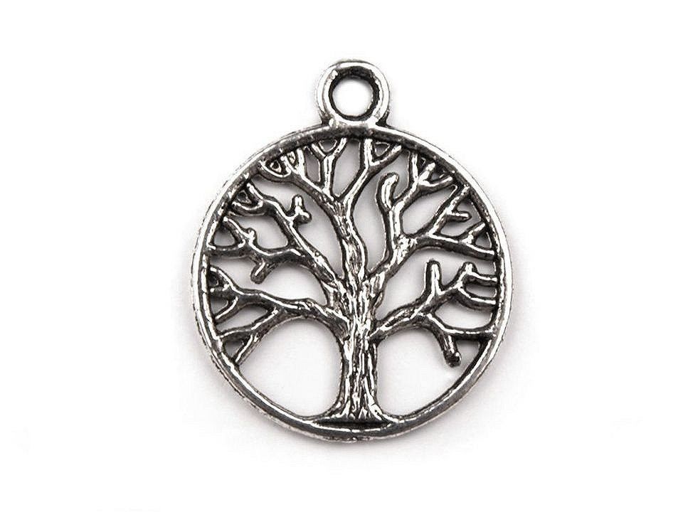 Přívěsek strom života Ø20mm, barva platina
