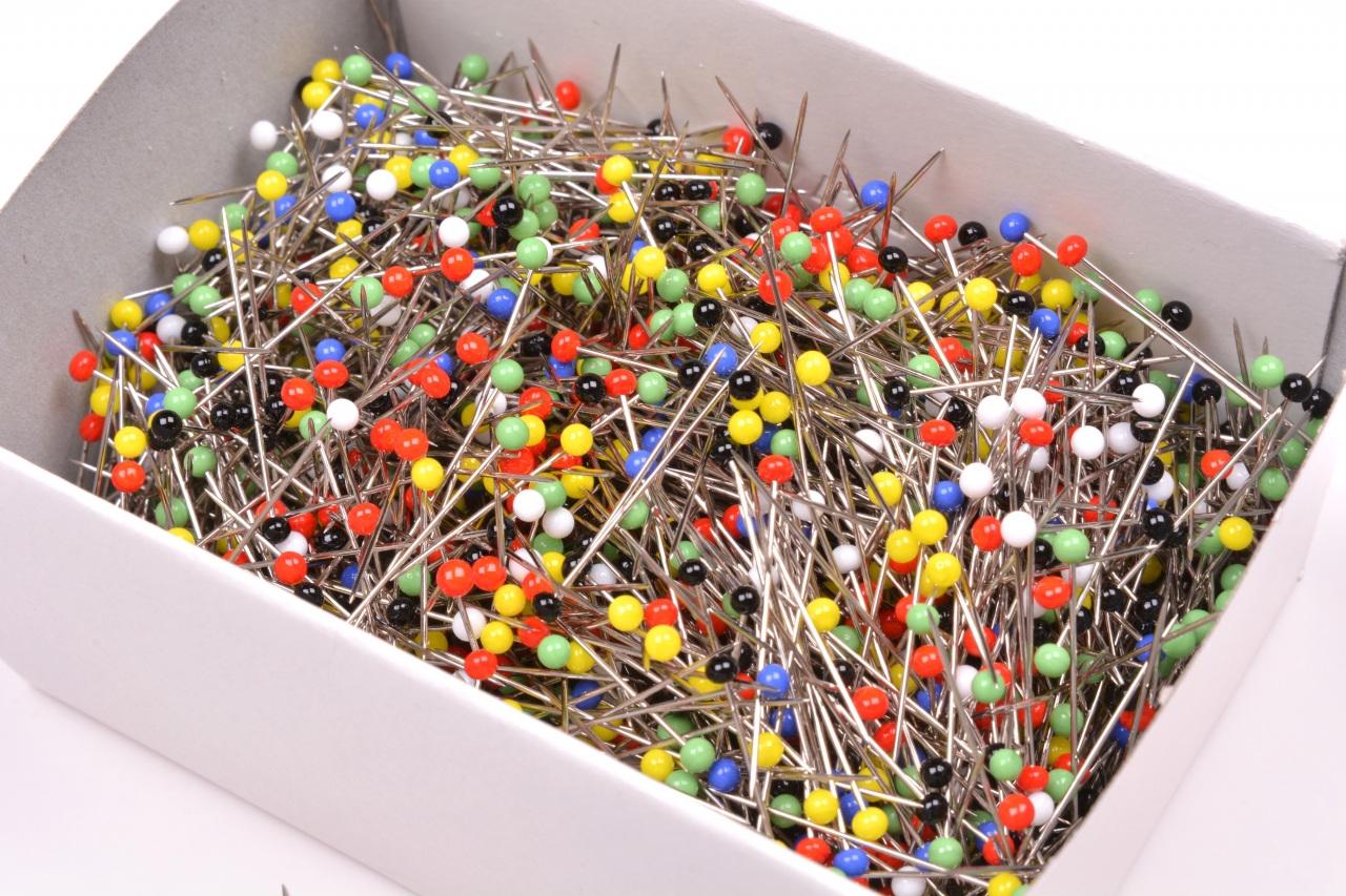 Špendlík skleněná hlavička mix barev 200g délka 30mm