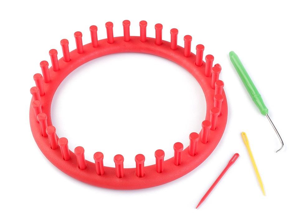 Sada na pletení kruh Ø19 cm, barva červená