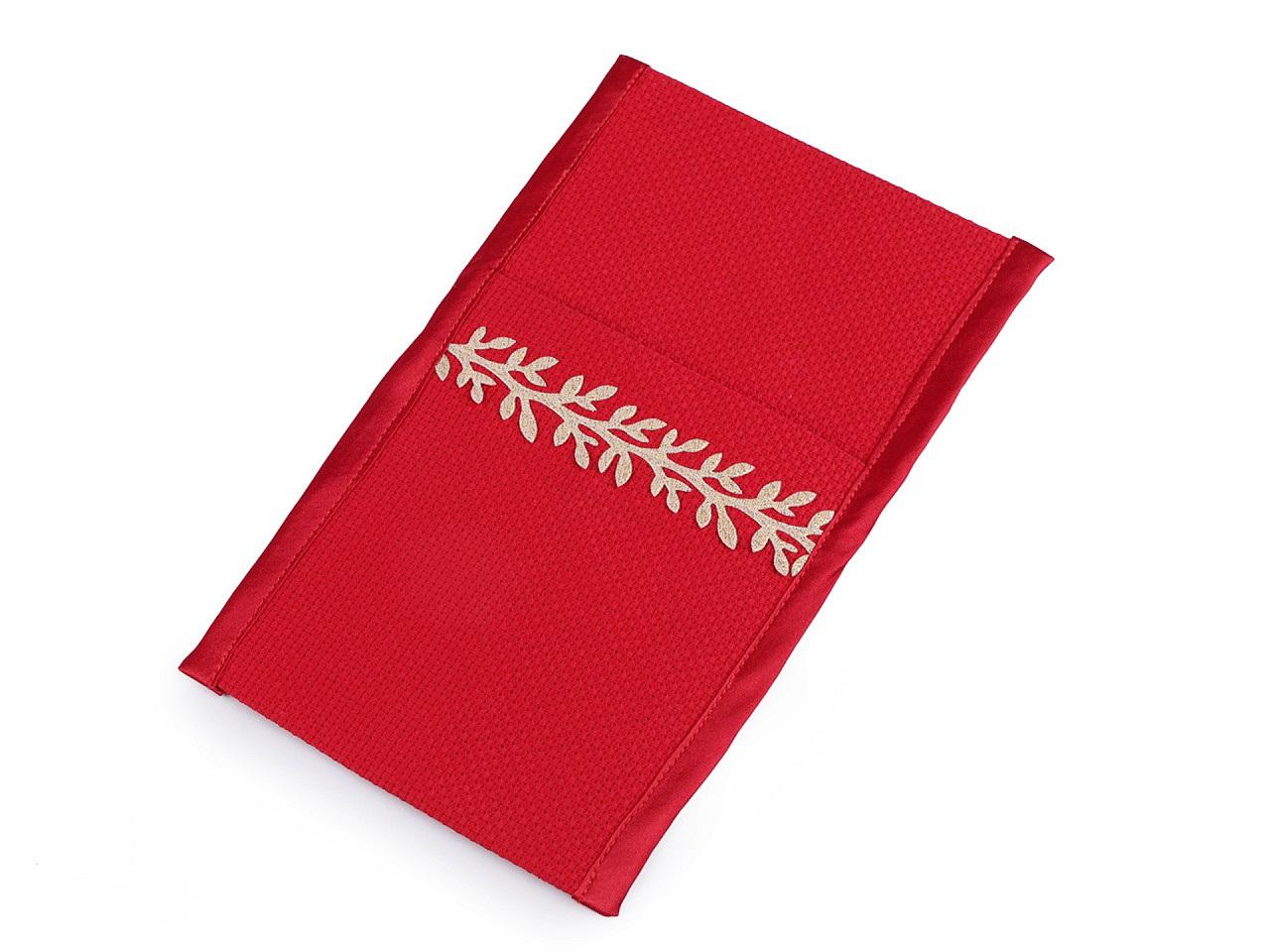 Kapsa na příbory s větvičkou 12x21 cm, barva 2 červená zlatá