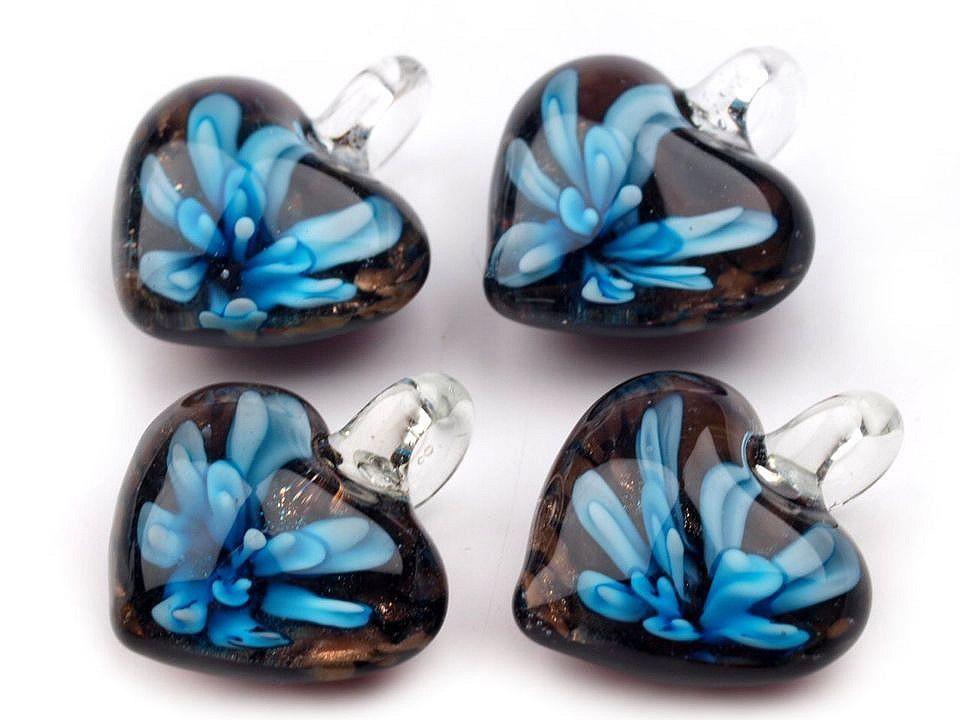 Skleněný přívěsek srdce 21x21 mm, barva 1 modrá azuro