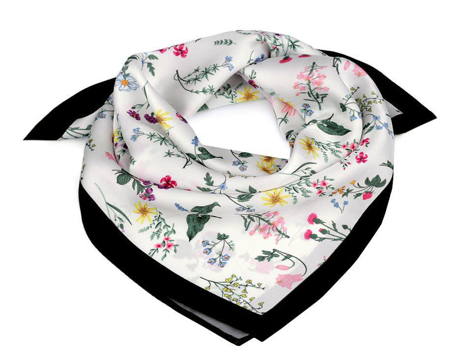 Saténový šátek luční květy 50x50 cm, barva 4 černá