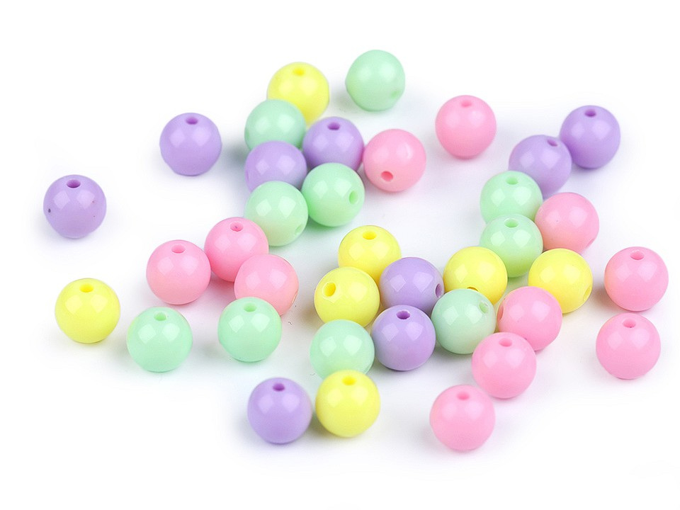 Plastové korálky Color Ø8 mm barevný mix