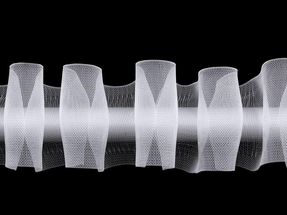 Záclonovka šíře 50 mm s poutky k navlečení na tyč, tužkové řasení, barva transparent