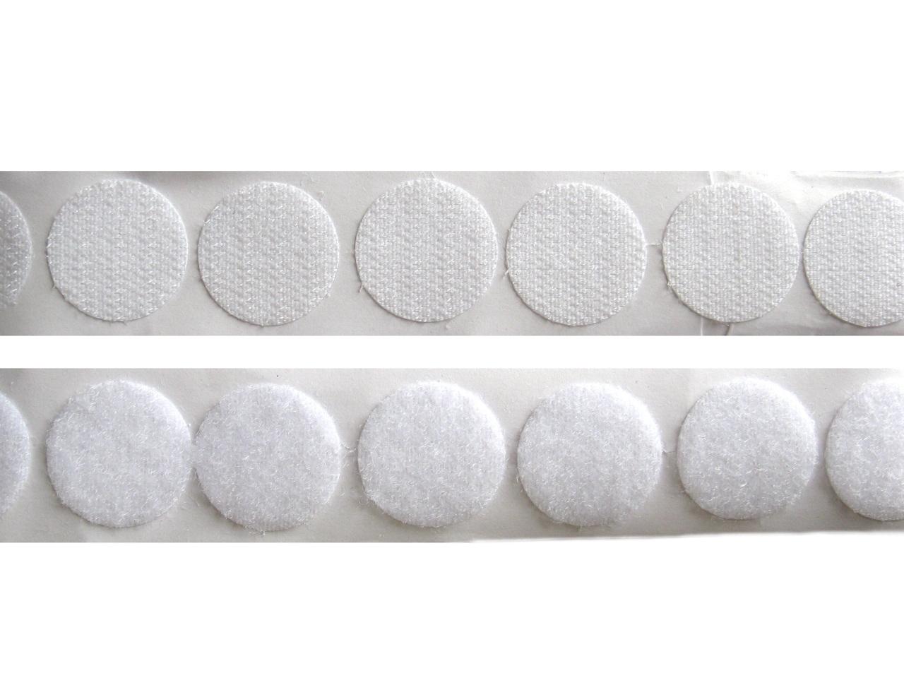 Suchý zip samolepicí - kolečka Ø 25 mm, barva Bílá