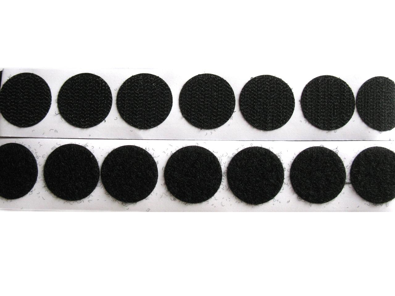 Suchý zip samolepicí - kolečka Ø 25 mm, barva Černá