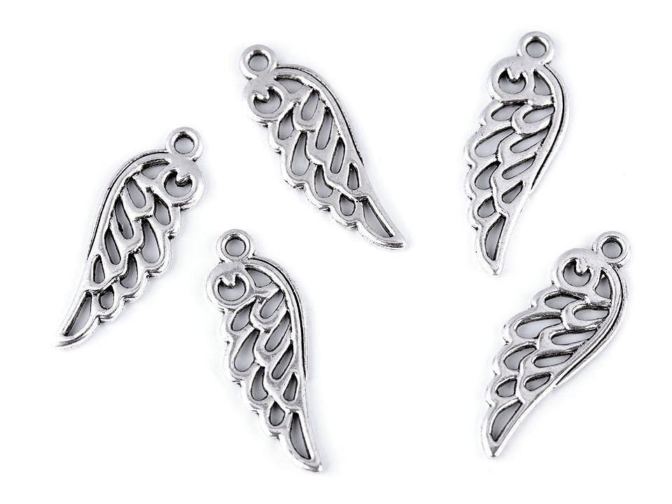 Přívěsek andělské křídlo 10x26 mm, barva 2 platina