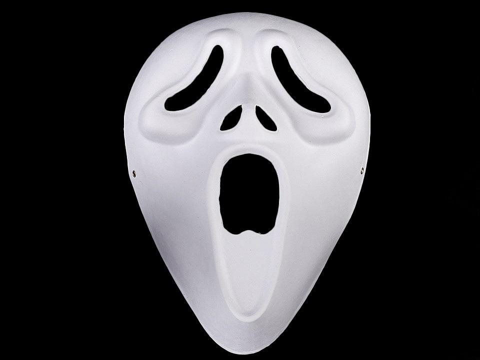 Karnevalová maska - škraboška k domalování, barva 4 bílá Vřískot