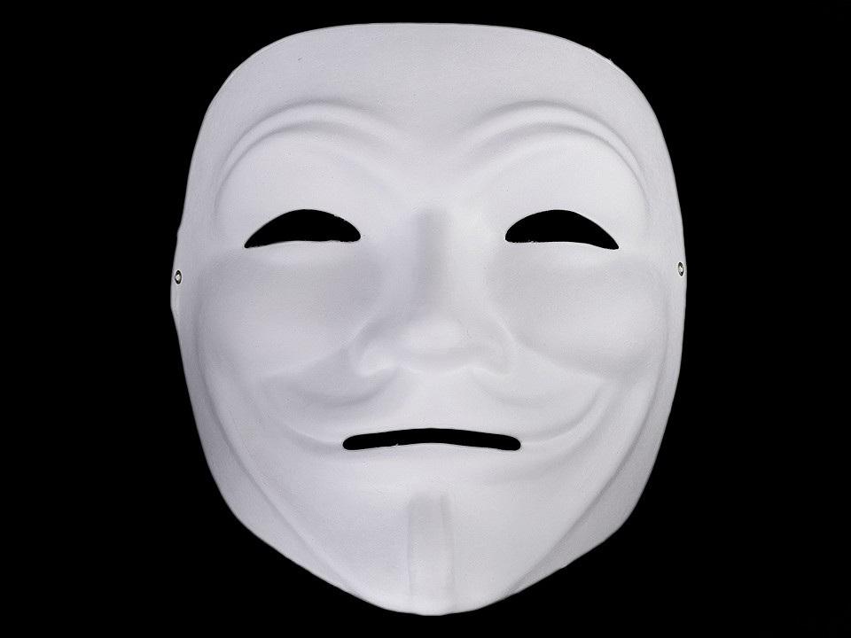 Karnevalová maska - škraboška k domalování, barva 1 bílá Anonymous