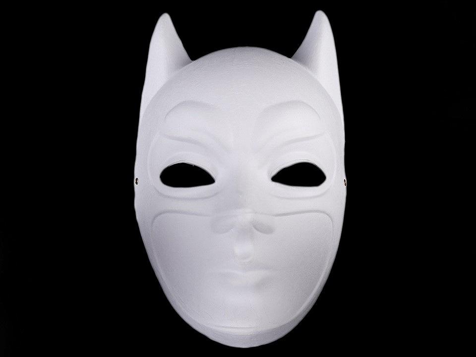 Karnevalová maska - škraboška k domalování, barva 3 bílá Batman