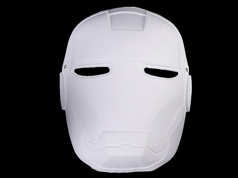 Karnevalová maska - škraboška k domalování, barva 2 bílá Iron Man
