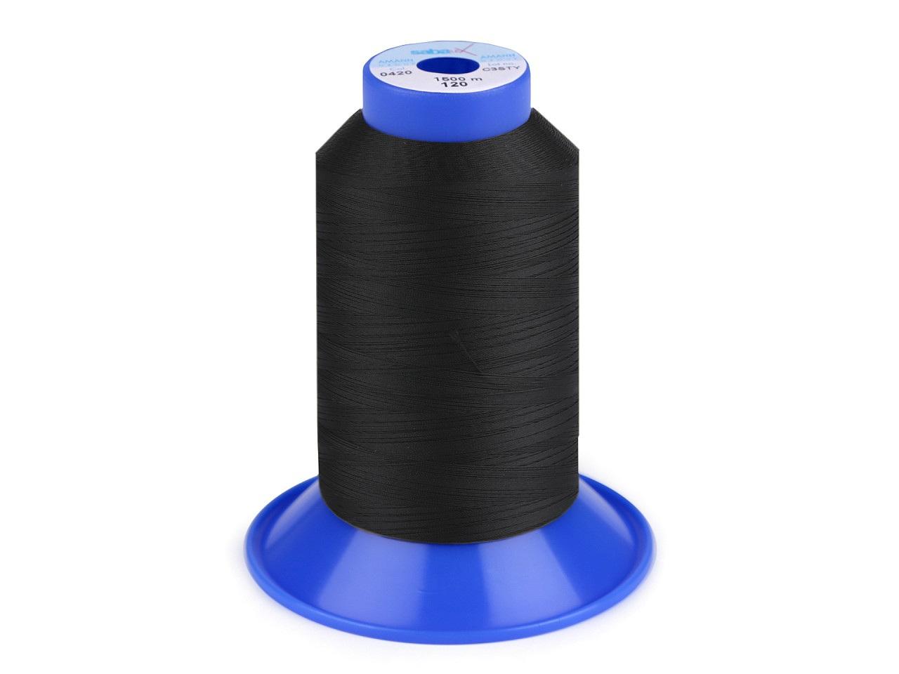 Nit elastická Sabaflex 120; 1500 m, barva 4000 černá