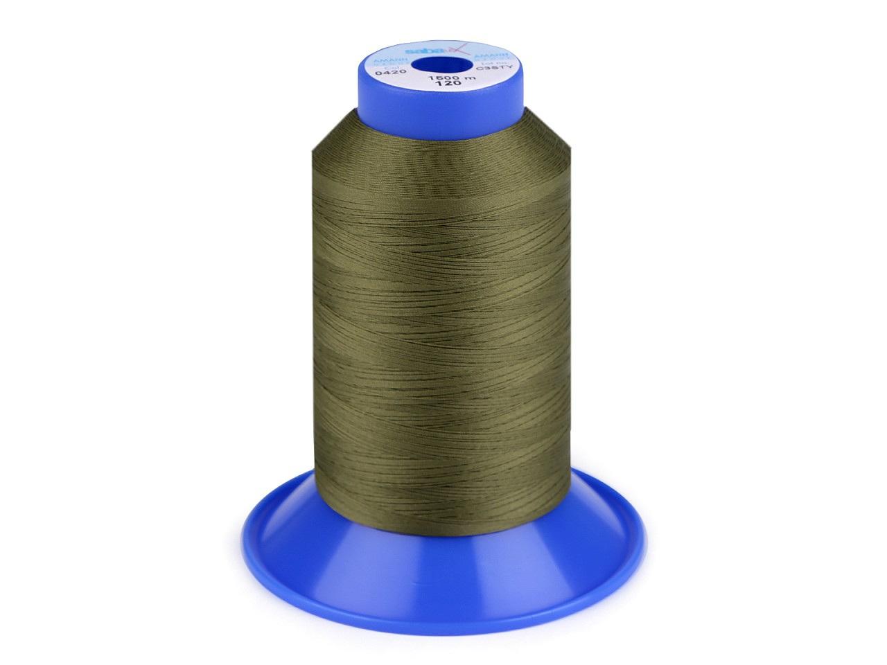Nit elastická Sabaflex 120; 1500 m, barva 420 zelená khaki stř.