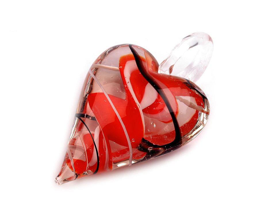 Skleněný přívěsek srdce 30x45 mm, barva 3 červená jahoda
