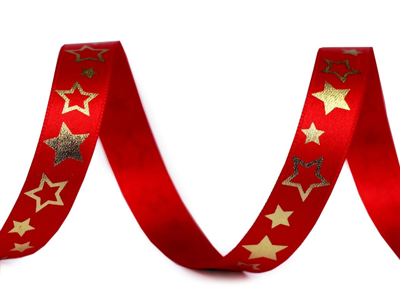 Stuha hvězdy šíře 15 mm, barva 2 (126) červená zlatá