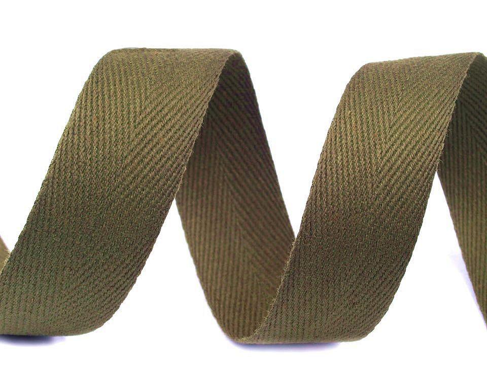 Keprovka - tkaloun šíře 25 mm, barva 4802 zelená olivová