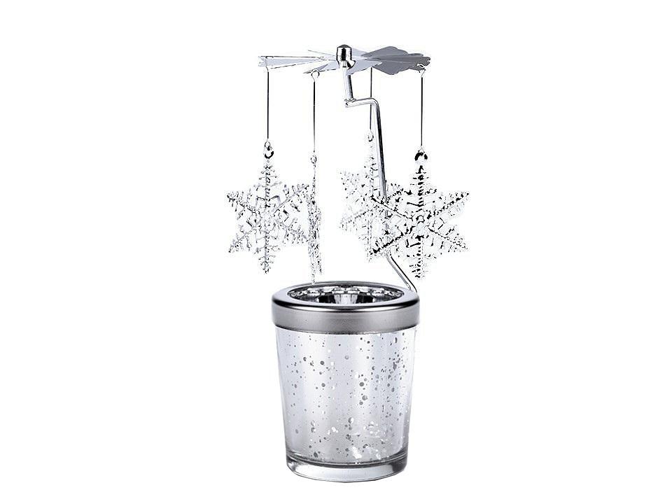 Andělské zvonění / vánoční kolotoč, barva 3 stříbrná vločka