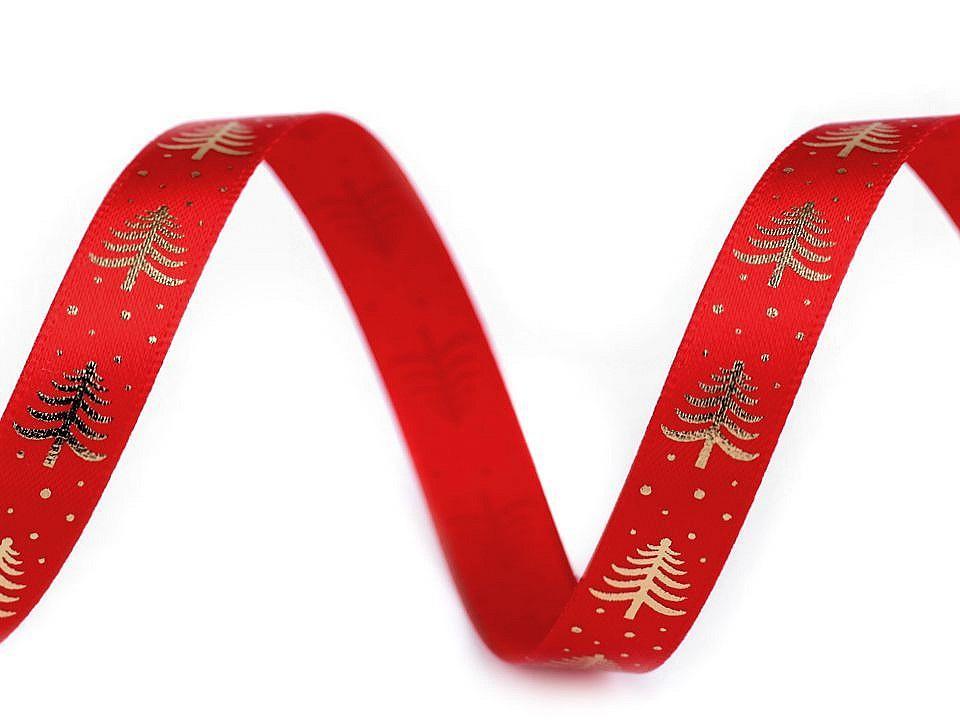 Saténová stuha stromeček šíře 10 mm, barva 3 červená zlatá