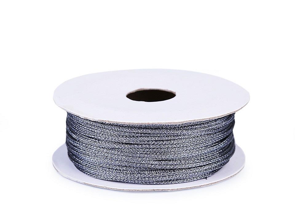 Lurexová šňůrka / provázek Ø1 mm, barva 6 šedá