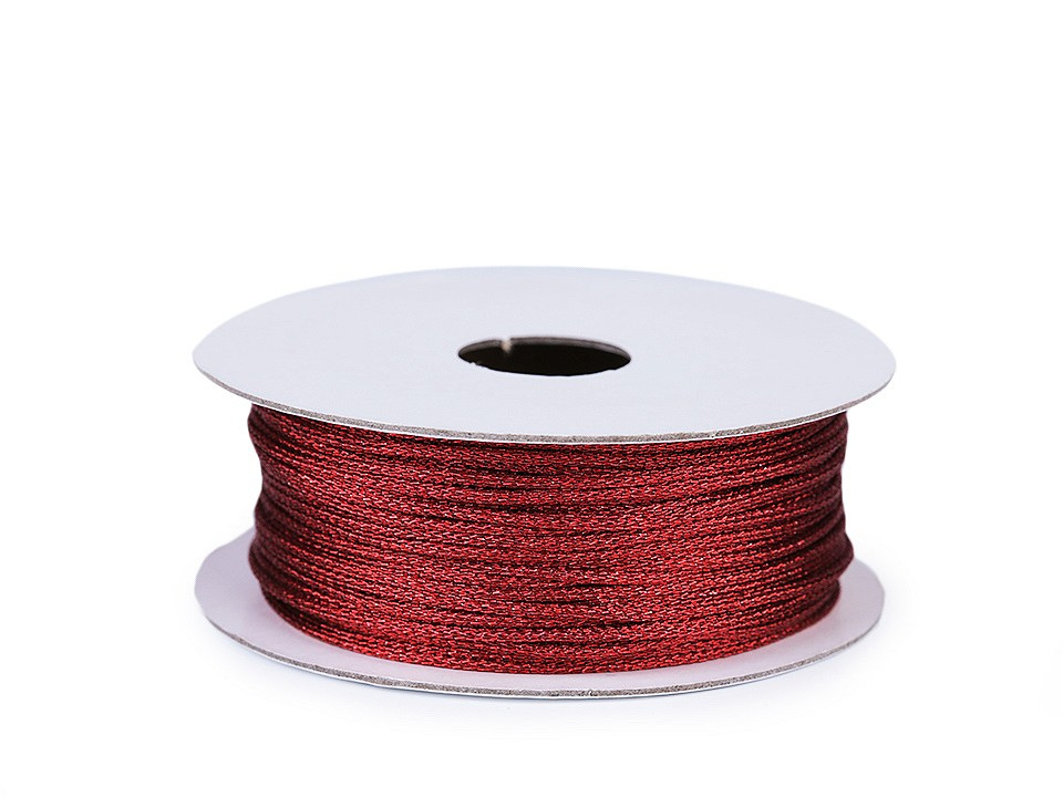 Lurexová šňůrka / provázek Ø1 mm, barva 5 červená