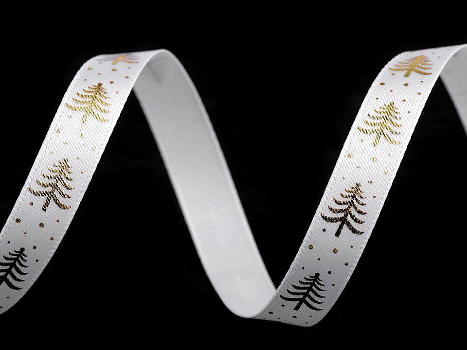 Saténová stuha stromeček šíře 10 mm, barva 2 bílá zlatá