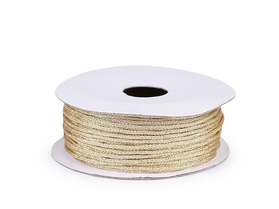 Lurexová šňůrka / provázek Ø1 mm, barva 3 zlatá