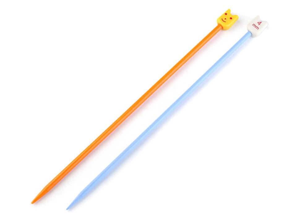 Rovné jehlice dětské č. 3,25; 4; 5; 6; Pony, barva (4 mm) oranžová