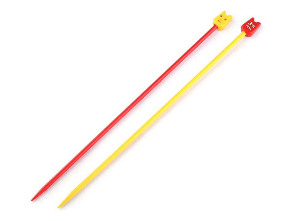Rovné jehlice dětské č. 3,25; 4; 5; 6; Pony, barva (3,25 mm) červená