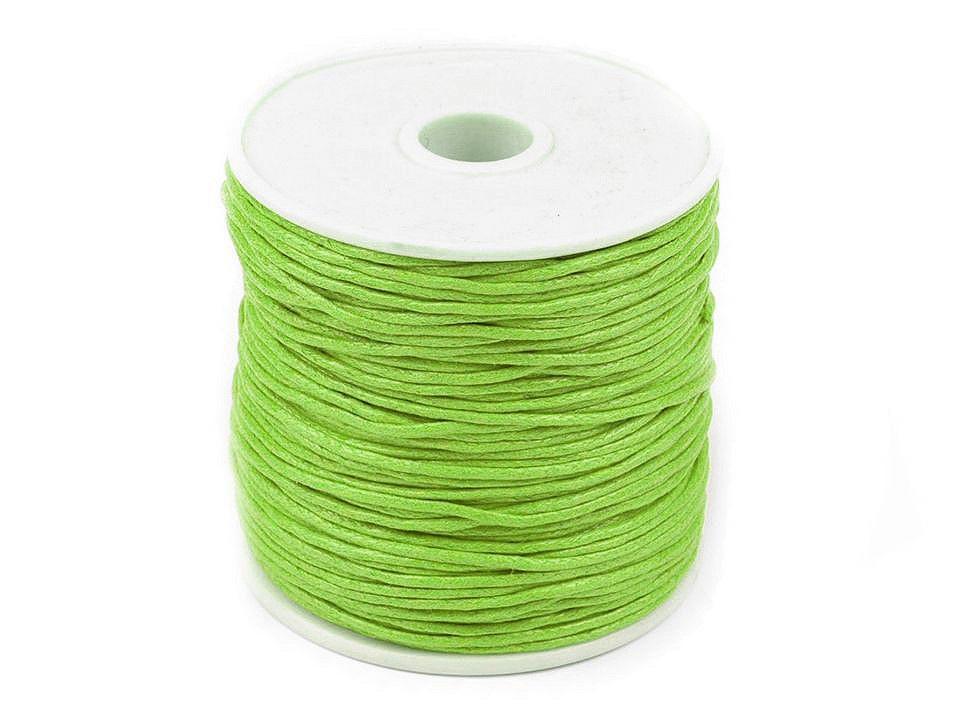 Šňůra bavlněná Ø1 mm voskovaná, barva 10 zelená limetková