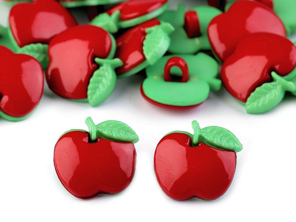 Knoflík dětský velikost 18 mm jablko, barva Červená