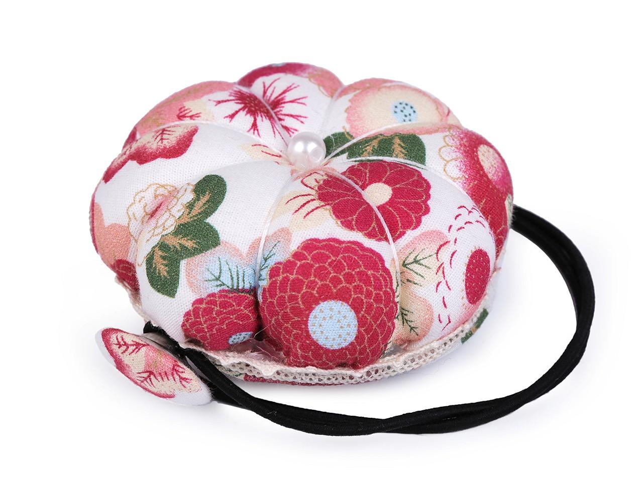 Jehelníček s pruženkou na šicí stroj, barva 1 krémová sv. květy