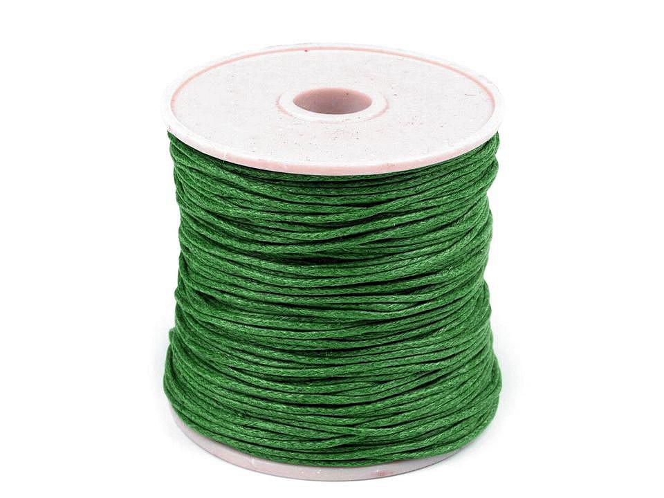 Šňůra bavlněná Ø1 mm voskovaná, barva 28 zelená pastelová