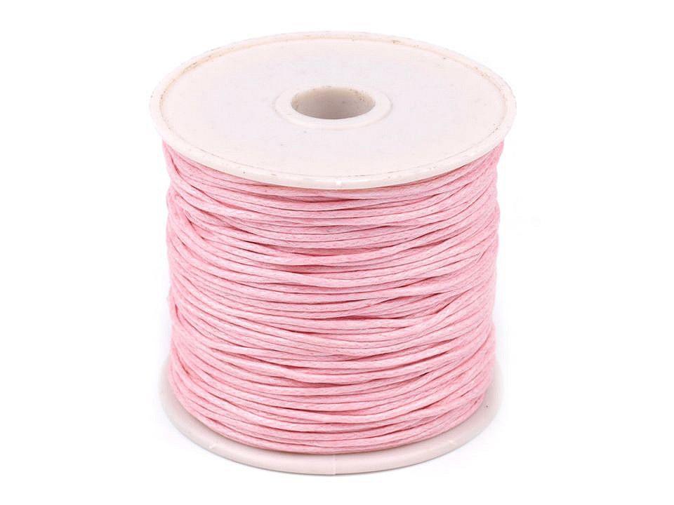 Šňůra bavlněná Ø1 mm voskovaná, barva 17 růžová dětská