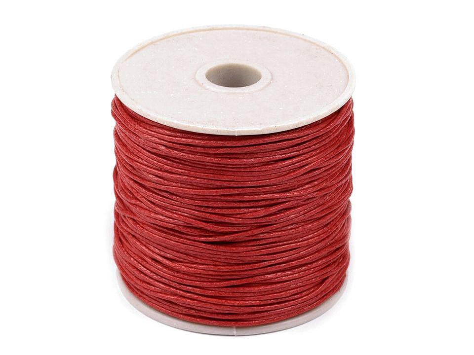 Šňůra bavlněná Ø1 mm voskovaná, barva 5 červená jahoda