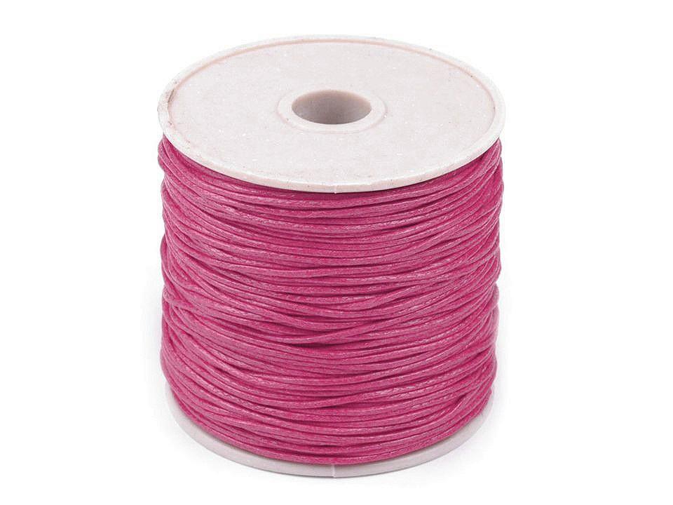 Šňůra bavlněná Ø1 mm voskovaná, barva 32 růžová malinová